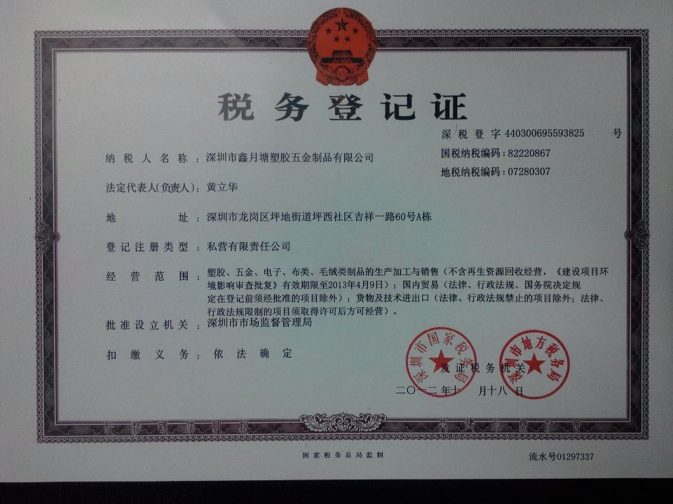 Local Tax Registration Certificate,Shaker cup factory
